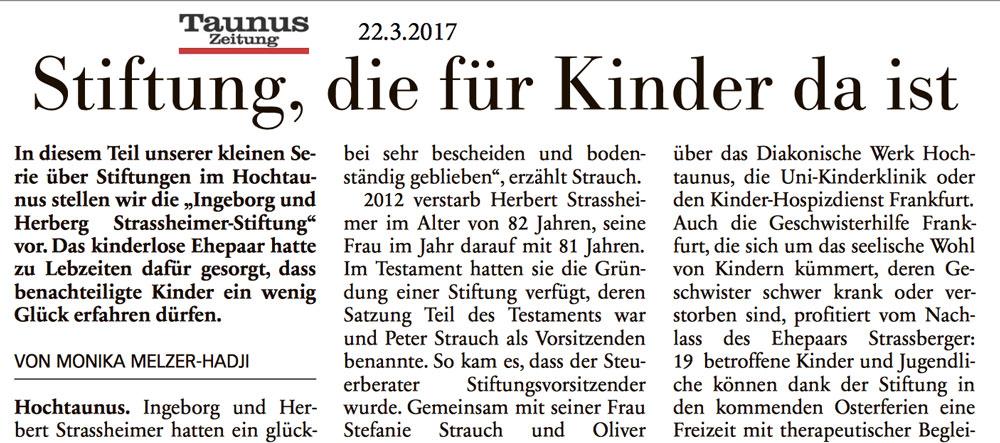 Die Strassheimer-Stiftung ist für Kinder da!